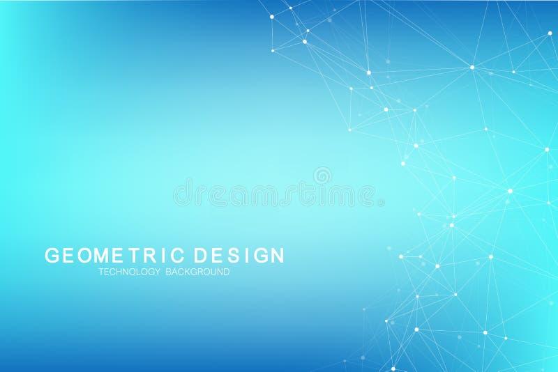 Abstrakcjonistyczny plexus tło z związanymi liniami i kropkami Plexus geometryczny skutek Duży dane kompleks z mieszankami ilustracji