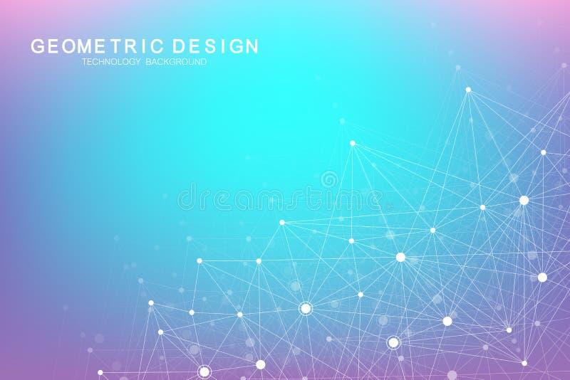 Abstrakcjonistyczny plexus tło z związanymi liniami i kropkami Plexus geometryczny skutek Duży dane kompleks z mieszankami ilustracja wektor
