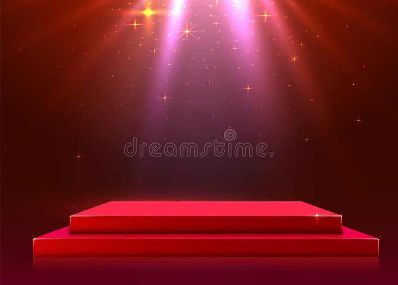 Abstrakcjonistyczny podium iluminujący z światło reflektorów Ceremonii wr?czenia nagr?d poj?cie Sceny t?o royalty ilustracja