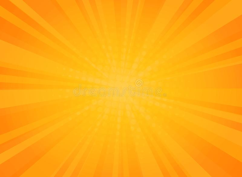 Abstrakcjonistyczny pogodny promieniowanie wzór komiczny halftone tło w kolorze żółtym ilustracja wektor