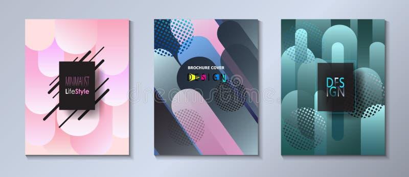 Abstrakcjonistyczny pokrywa szablonu ustalony bauhaus, Memphis i modnisia koloru stylowi graficzni rzadkopłynni bąble, ilustracja wektor