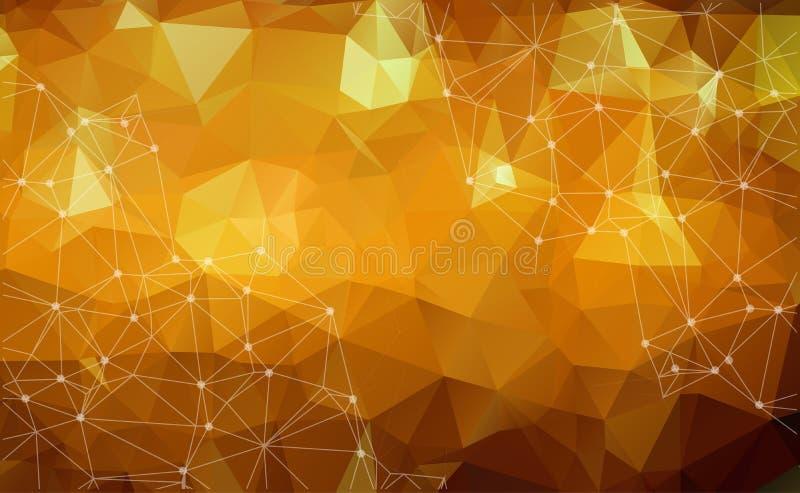 Abstrakcjonistyczny poligonalny astronautyczny niski poli- ciemny tło z connectin ilustracji