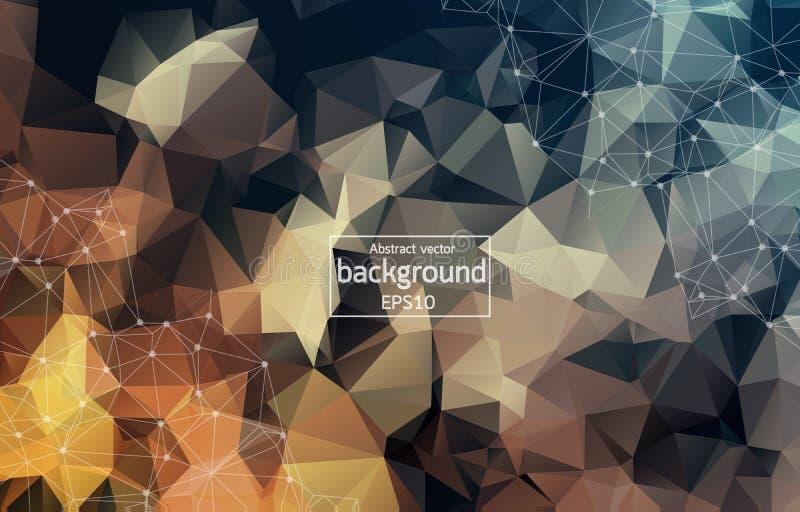 Abstrakcjonistyczny poligonalny Ciemnego Brown tło z związanymi kropkami i liniami, podłączeniowa struktura, futurystyczny hud tł royalty ilustracja