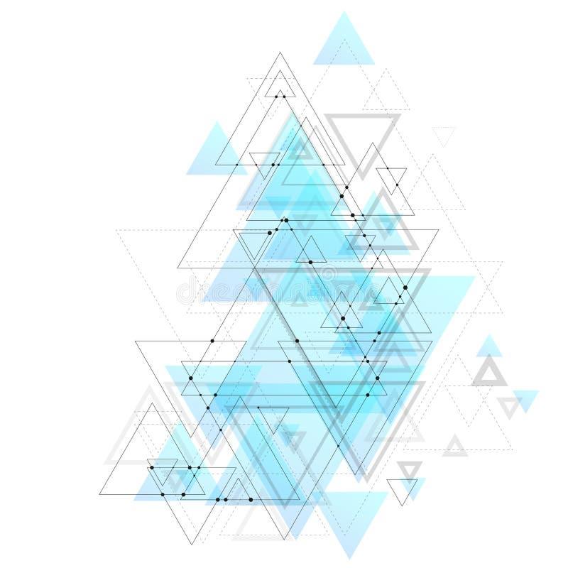Abstrakcjonistyczny poligonalny niski poli- wektorowy tło z błękitnymi trójbokami, łączący kropkuje i wykłada Podłączeniowa struk ilustracja wektor