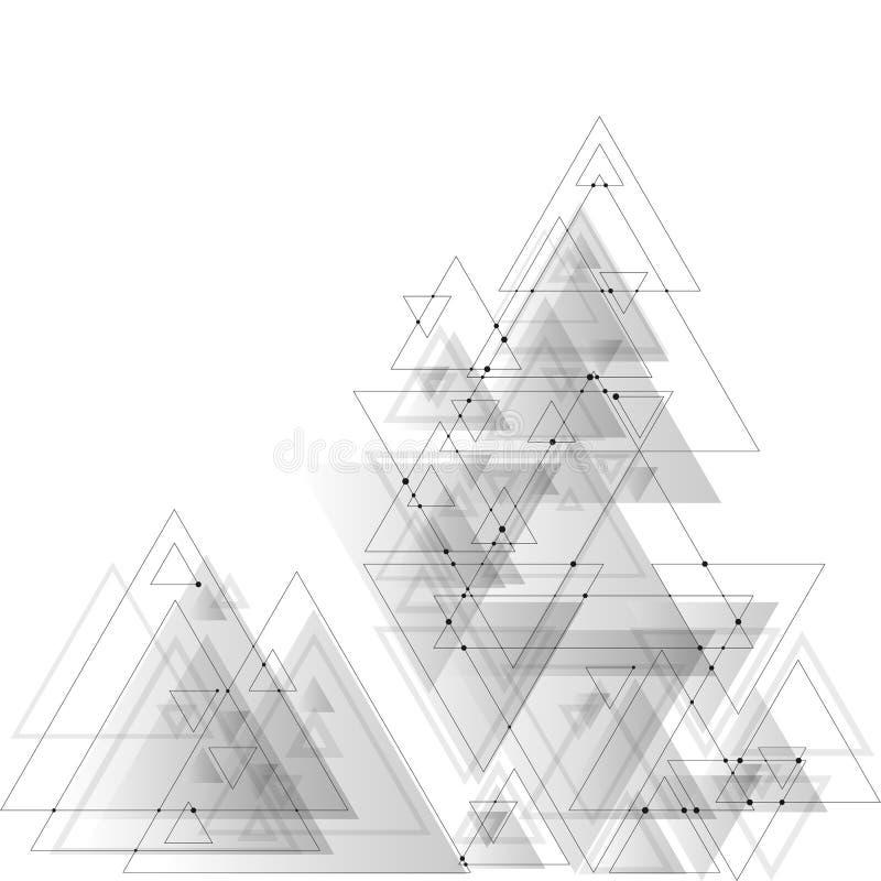 Abstrakcjonistyczny poligonalny niski poli- wektorowy tło z szarymi trójbokami, łączący kropkuje i wykłada Podłączeniowa struktur royalty ilustracja