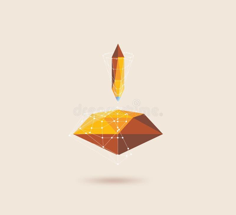 Abstrakcjonistyczny poligonalny ołówek i diament, Geometryczna ilustracja royalty ilustracja