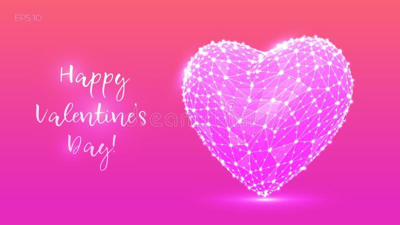 Abstrakcjonistyczny Poligonalny serce to walentynki dni Niski poli- serce od linii i punktów w kolorowym stylu szczęśliwe dni val ilustracja wektor