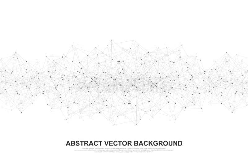 Abstrakcjonistyczny poligonalny tło z związanymi liniami i kropkami Minimalny geometryczny wzór, cząsteczkowa tekstura grafika ilustracji