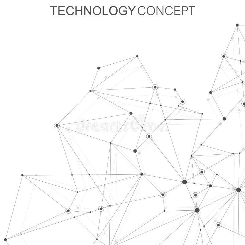 Abstrakcjonistyczny poligonalny tło z związanymi liniami i kropkami Plexus komunikaci i struktury tło grafika ilustracja wektor