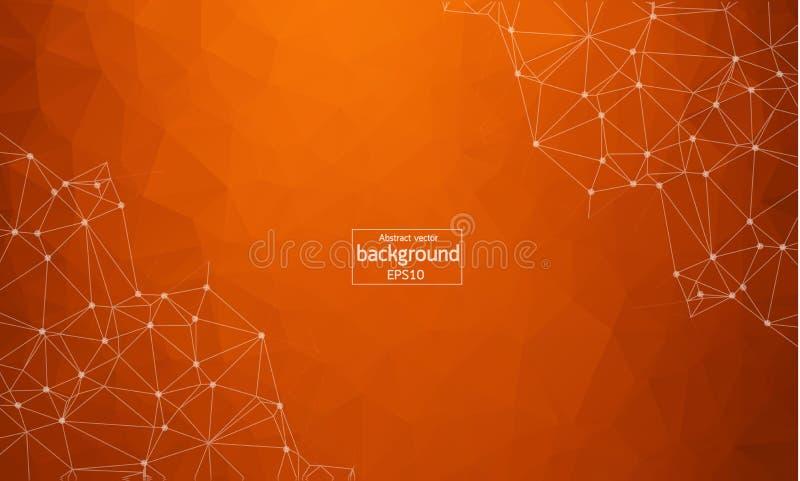 Abstrakcjonistyczny poligonalny zmrok - pomarańczowy tło z związanymi kropkami i liniami, podłączeniowa struktura, futurystyczny  ilustracji