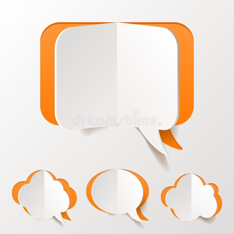 Abstrakcjonistyczny Pomarańczowy bąbel Ustawiający mowy cięcie papier royalty ilustracja