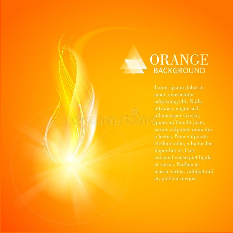 Abstrakcjonistyczny pomarańczowy tło przemysłu ogień. ilustracji
