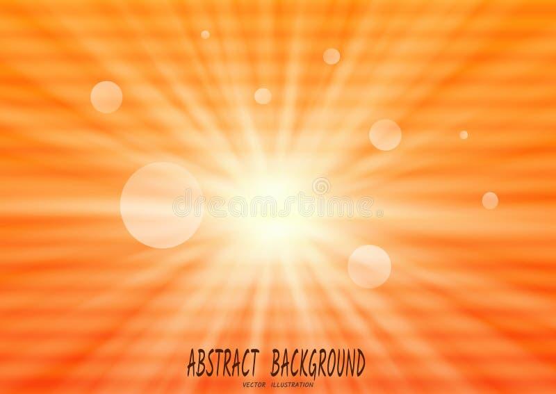 Abstrakcjonistyczny pomarańczowy tło z słońce promieniami i horyzontalni punkty jak interferencja na starym TV, wektor royalty ilustracja