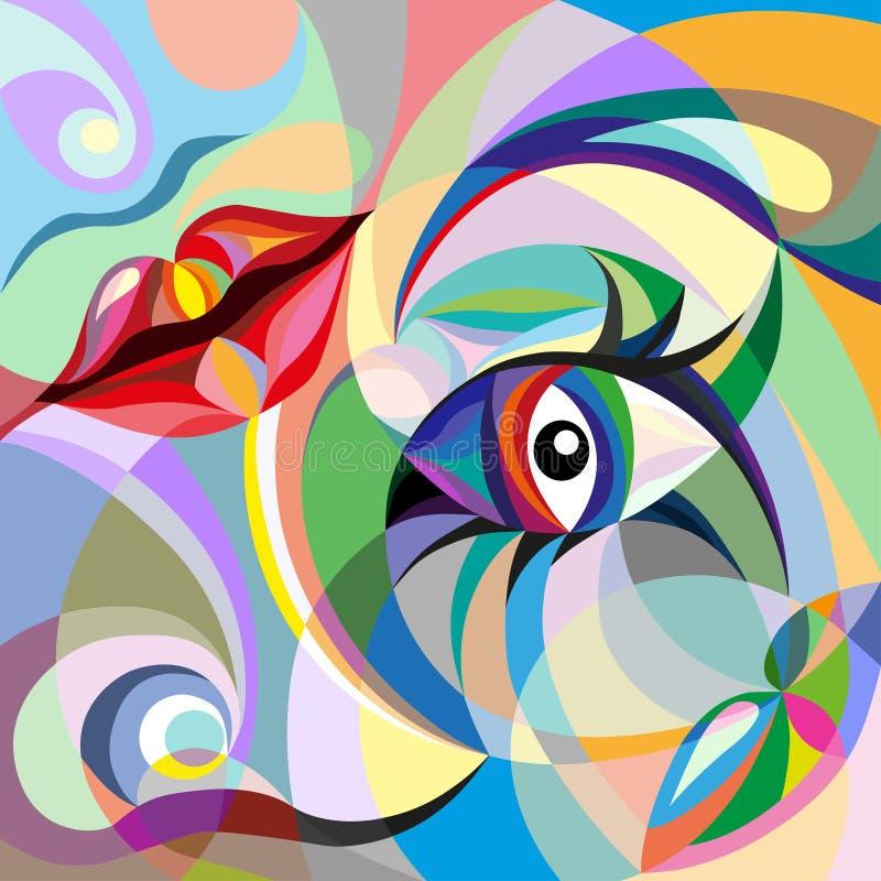 Abstrakcjonistyczny portret kobieta ilustracja wektor