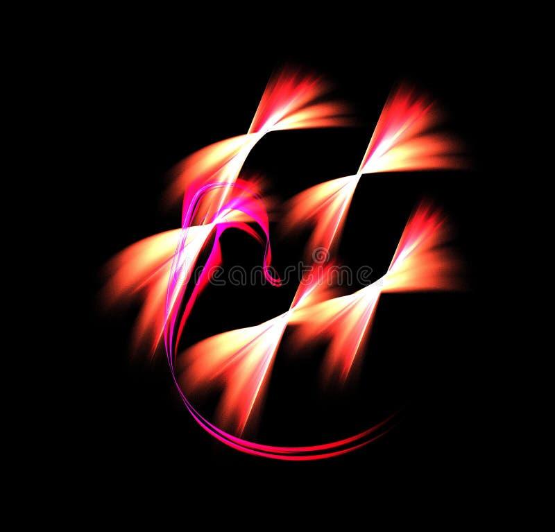 Abstrakcjonistyczny postać skład przecina linie na czarnym tle kolor, fractal, dla pokryw, dyski, strony internetowe, sztandary,  zdjęcia royalty free