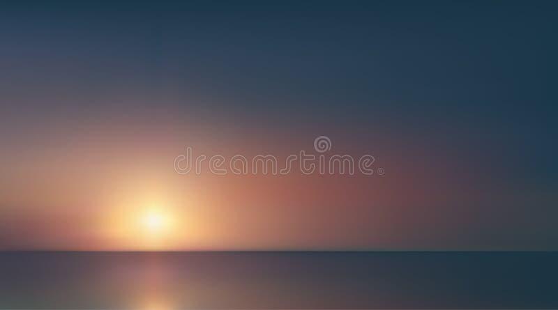 Abstrakcjonistyczny powietrzny panoramiczny widok wsch?d s?o?ca nad oceanem Nic tylko b??kitny jaskrawy niebo i g??boka zmrok wod ilustracja wektor