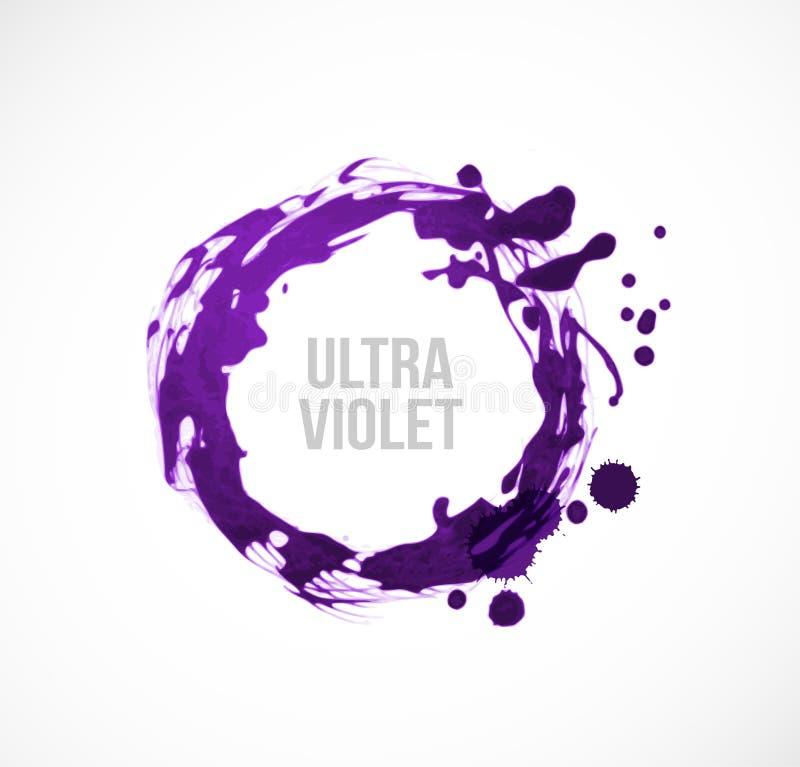 Abstrakcjonistyczny pozafioletowy purpurowy grunge cricle na białym tle Kolor rok 2018 royalty ilustracja