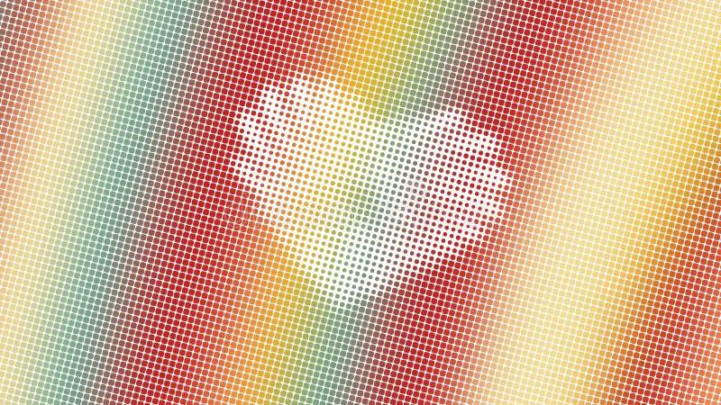 Abstrakcjonistyczny projekt, geometryczni wzory, Biały tło, tekstura czerwone żółtej zieleni małe kropki, kształt serce, przygoto zdjęcie stock