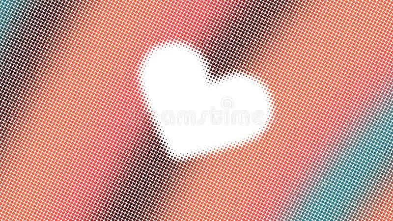 Abstrakcjonistyczny projekt, geometryczni wzory, biały tło, tekstura pomarańcze i zielone małe kropki, kształt serce, przygotowyw zdjęcia royalty free