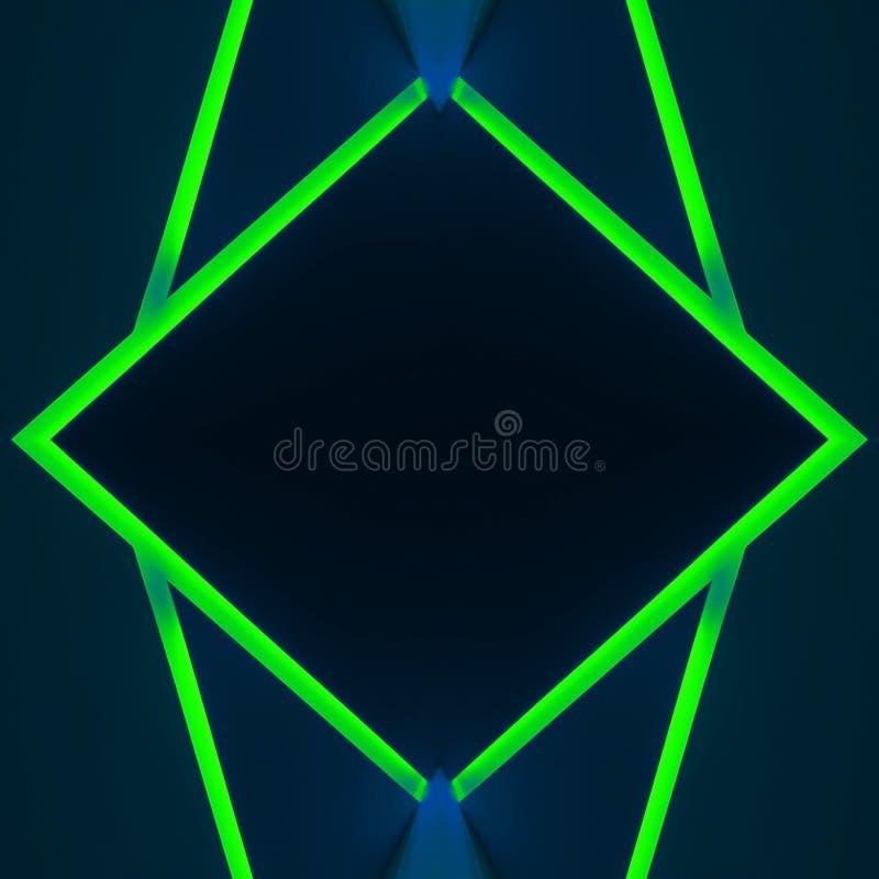abstrakcjonistyczny projekt z neonowymi lekkimi liniami w zielonym kolorze, tle i teksturze, royalty ilustracja