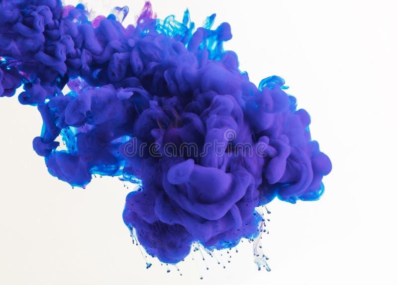 abstrakcjonistyczny projekt z płynąć błękitnego i purpurowego atrament w wodzie, odosobnionej na bielu fotografia stock
