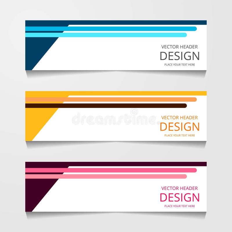 Abstrakcjonistyczny projekta sztandar, sieć szablon z trzy różnym kolorem, układu chodnikowa szablony, nowożytna wektorowa ilustr royalty ilustracja
