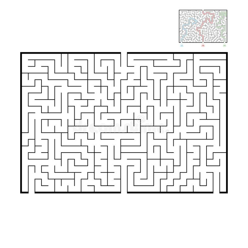 Abstrakcjonistyczny prostokątny wielki labirynt Gra dla dzieciaków i dorosłych Łamigłówka dla dzieci Znajduje prawego wyjście Lab ilustracja wektor