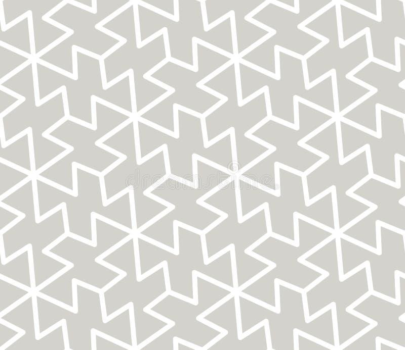 Abstrakcjonistyczny prosty geometryczny wektorowy bezszwowy wzór z białej linii teksturą na popielatym tle Światło - szarość nowo royalty ilustracja