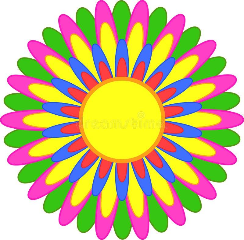 Abstrakcjonistyczny prosty kwiat z czerwienią, kolor żółty, błękit, pomarańcze, menchia, zieleni płatki ilustracji