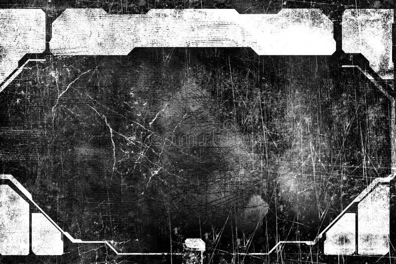 Abstrakcjonistyczny przemysłowy rocznik textured grunge tło Narys powierzchnia grunge ramowy Grungy granica royalty ilustracja