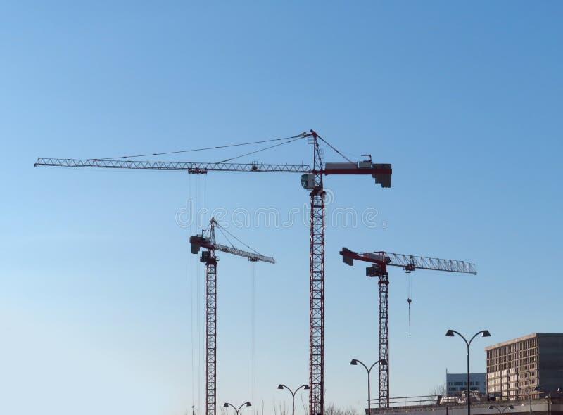 Abstrakcjonistyczny Przemysłowy tło z budowa żurawi silhouet zdjęcie stock