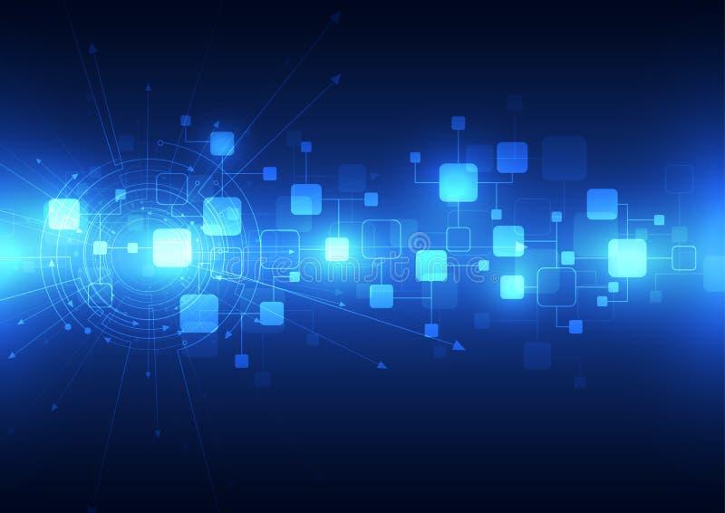 Abstrakcjonistyczny przyszłościowy technologii telecoms tło, wektorowa ilustracja ilustracja wektor