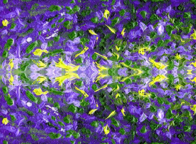 Abstrakcjonistyczny pstrobarwny i kolorowy wzór Obraz olejny na kanwie ilustracja wektor
