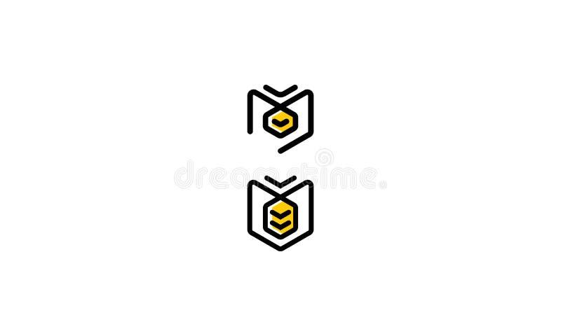 Abstrakcjonistyczny pszczoły kreskowej sztuki logo ikony wektor ilustracja wektor