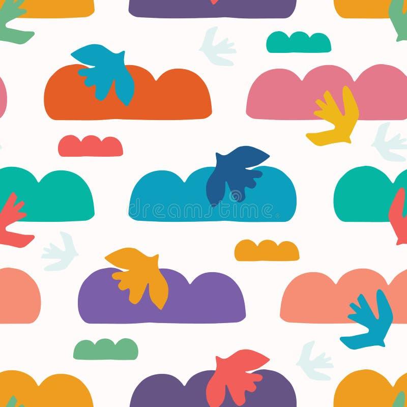 Abstrakcjonistyczny ptak chmury cięcie za kształtach Wektoru deseniowy bezszwowy t?o R?ka rysuj?ca matisse stylu kola?u grafiki i royalty ilustracja