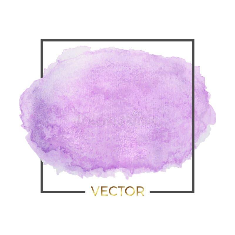Abstrakcjonistyczny purpurowy akwareli pluśnięcie z kwadrat ramą, abstrakt rzadkopłynny atrament, akrylowy suchy muśnięcie muska, ilustracja wektor