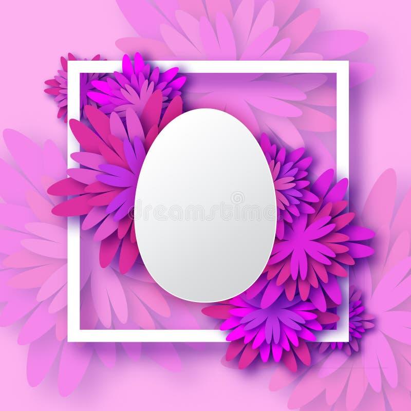 Abstrakcjonistyczny Purpurowy Kwiecisty kartka z pozdrowieniami wiosny Wielkanocny jajko - Szczęśliwy Wielkanocny dzień - ilustracja wektor