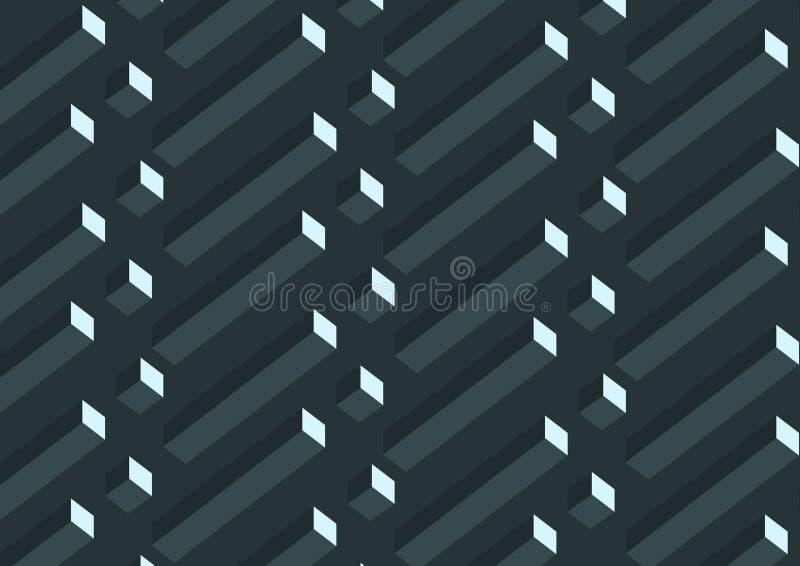 Abstrakcjonistyczny realistyczny 3D sześcianów szary geometryczny wzór na czarnym tle royalty ilustracja