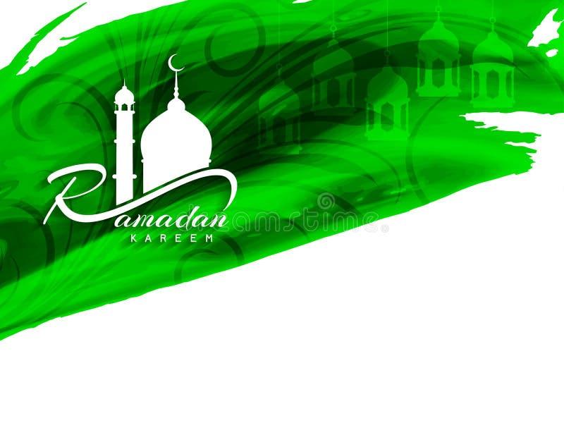 Abstrakcjonistyczny religijny Ramadan kareem zieleni akwareli tło ilustracja wektor