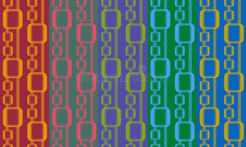 Abstrakcjonistyczny retro bezszwowy wzór Prosty jaskrawy ornament dla tkaniny, druków, tapety, opakunkowego papieru, sieci, etc ilustracja wektor