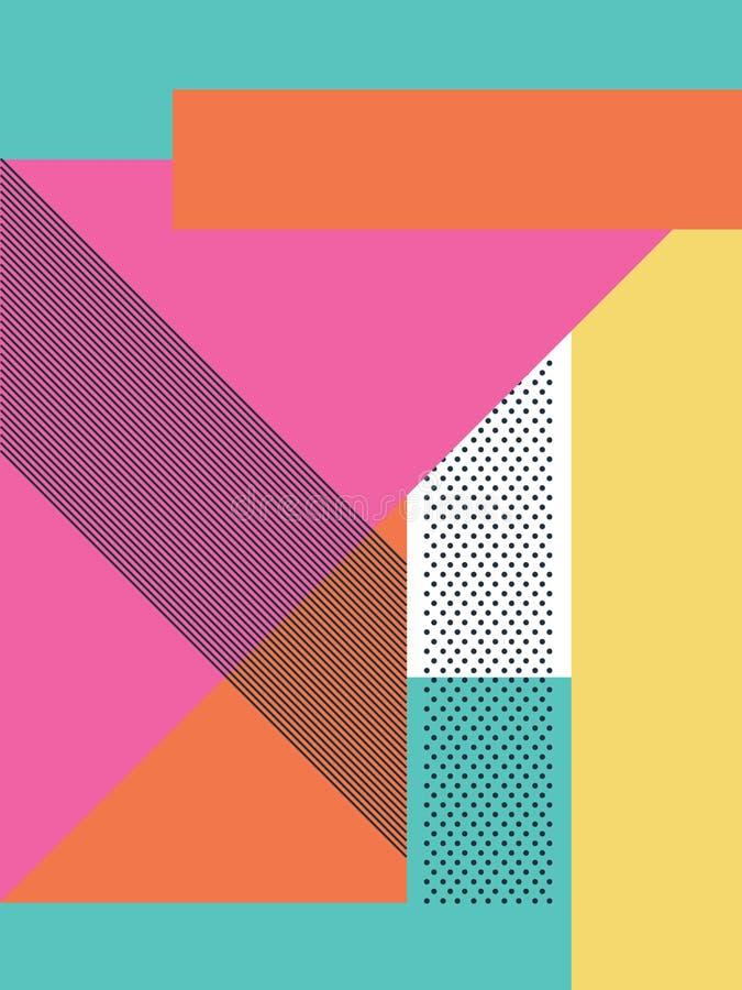 Abstrakcjonistyczny retro 80s tło z geometrycznymi kształtami i wzorem Materialna projekt tapeta ilustracja wektor