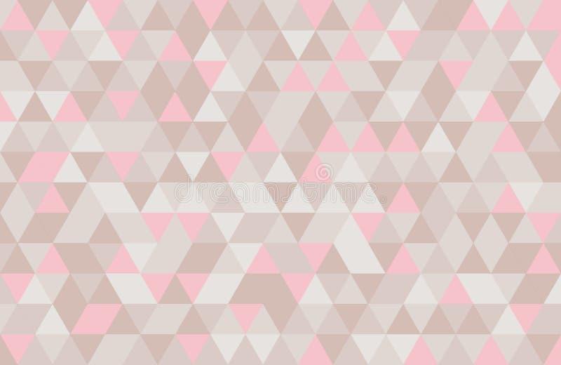 Abstrakcjonistyczny retro wzór geometryczni kształty Różowy i beżowy mozaiki tło Geometrycznego modnisia trójgraniasty tło, obraz stock