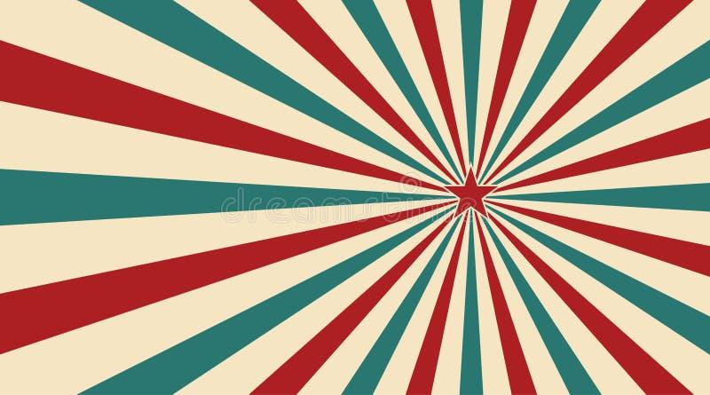 Abstrakcjonistyczny rocznika światło słoneczne czerwony żółty błękitny i zielony kwiatu tło z gwiazdą w centrum Karnawa ilustracja wektor