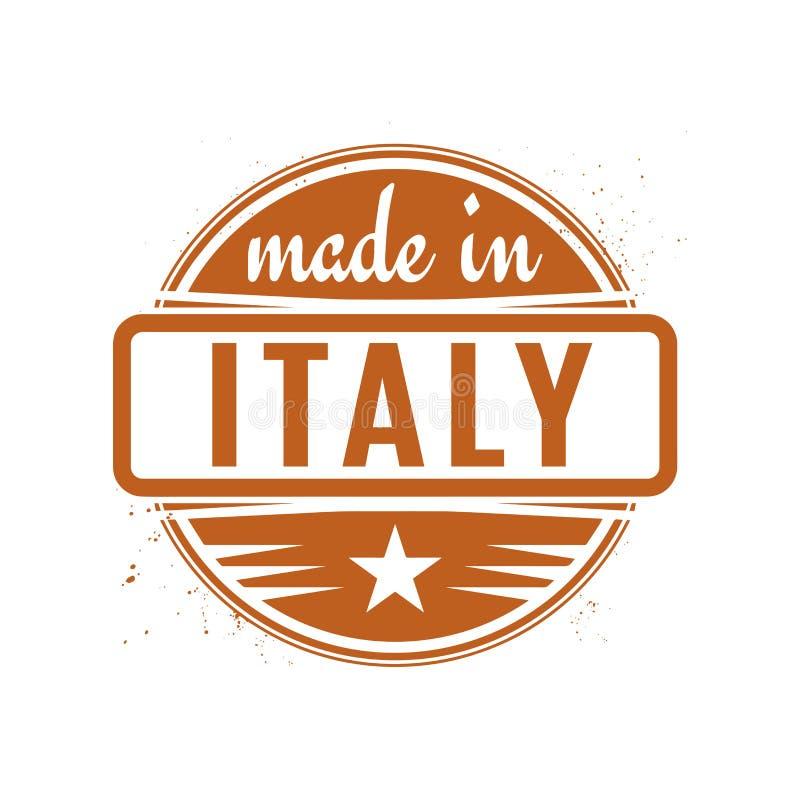 Abstrakcjonistyczny rocznika znaczek, foka z tekstem Robić w Włochy lub ilustracja wektor