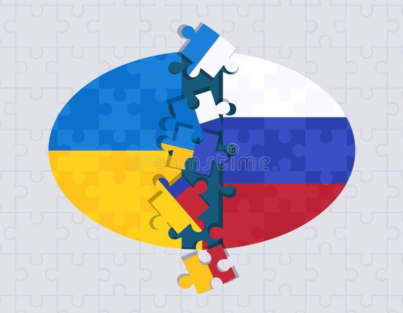 Abstrakcjonistyczny rosjanin i Ukraiński flagi łamigłówki pojęcie royalty ilustracja