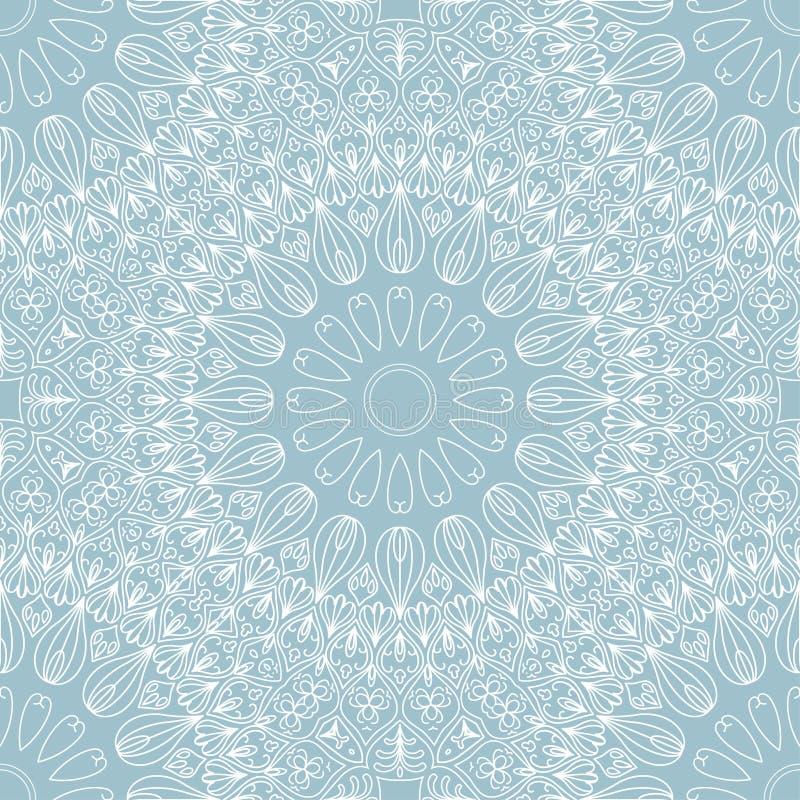 Abstrakcjonistyczny round etniczny bezszwowy wzór na białych liniach ilustracji