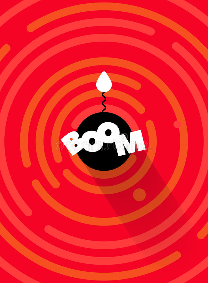 Abstrakcjonistyczny round komiczny huk bomby tło, czerwony kolor Wektorowej round linii geometryczni kształty ilustracja wektor
