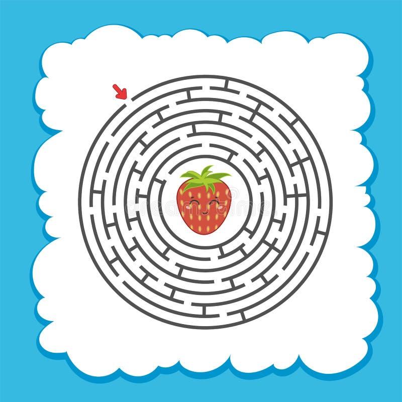 Abstrakcjonistyczny round labirynt gemowi dzieciaki Łamigłówka dla dzieci Jeden wejście, jeden wyjście Labitynt zagadka charakter ilustracja wektor