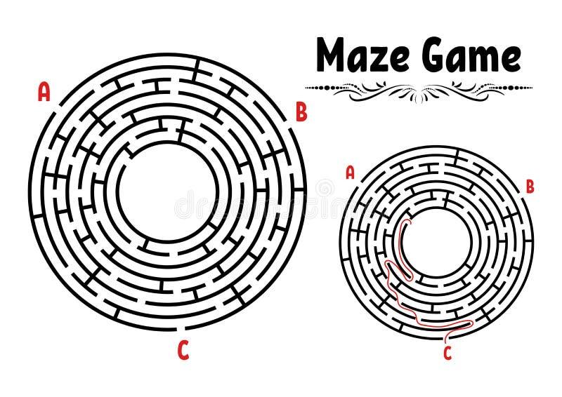 Abstrakcjonistyczny round labirynt gemowi dzieciaki Łamigłówka dla dzieci Labitynt zagadka Płaska wektorowa ilustracja odizolowyw royalty ilustracja