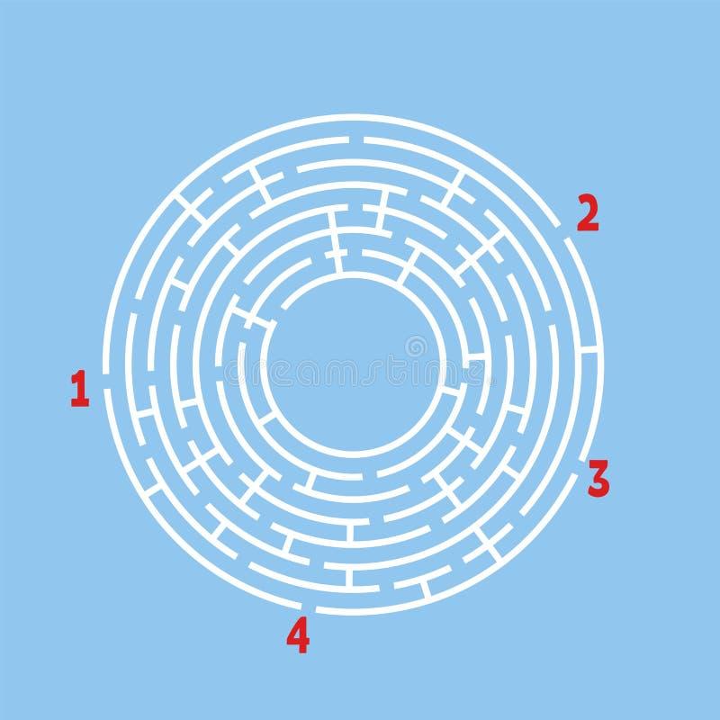 Abstrakcjonistyczny round labirynt gemowi dzieciaki Łamigłówka dla dzieci Znajduje prawą ścieżkę Labitynt zagadka Płaska wektorow ilustracji